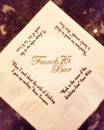 French 75 Bar Napkin Quotes - Picture of Arnaud\'s Restaurant ...