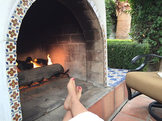Outdoor fireplace at Spa La Quinta