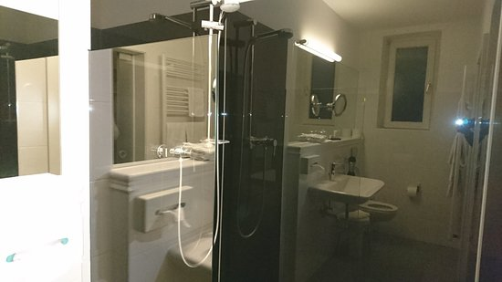 Bad Mit Dusche Gespiegelt In Der Duschglaswand Picture Of Bamberger Hof Bellevue Bamberg Tripadvisor