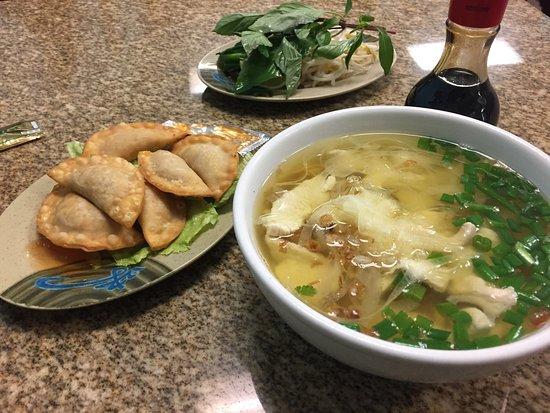 Pho Crystal Fried Dumplings And Mi Ga Pho Crystal Pho Crystal Chicken With Egg Noodles