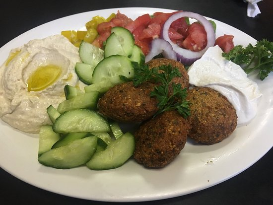 Granby Street Pizza: Falafel platter with cucumbers instead of pita & hummus instead of tabouli.