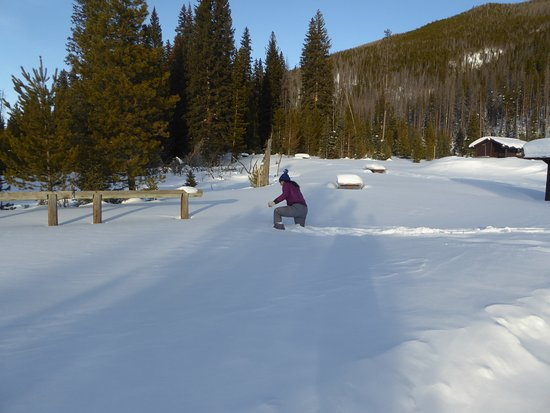 Western Riviera Lakeside Lodging & Events: In the RM Park playing around look at snow!!!