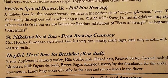 Country Place Restaurant: special beers