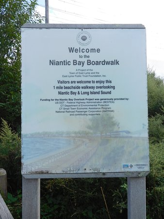East Lyme, CT: The Bay walk sign by the tunnel that leads to the bay walk