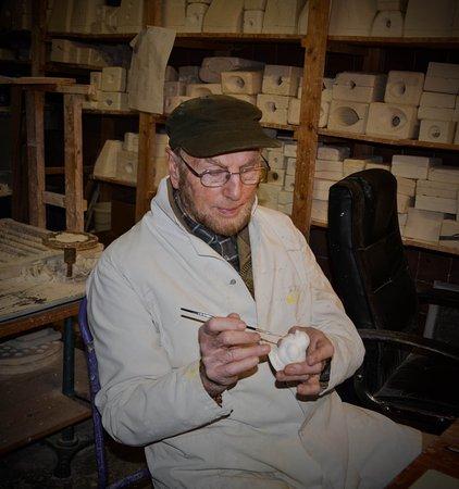 Tipperary, Ireland: Veteran designer and maker, Cyril Cullen in his ceramic studio at Farney Castle