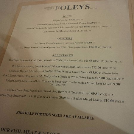 Part of the menu - Picture of Foley's Townhouse and