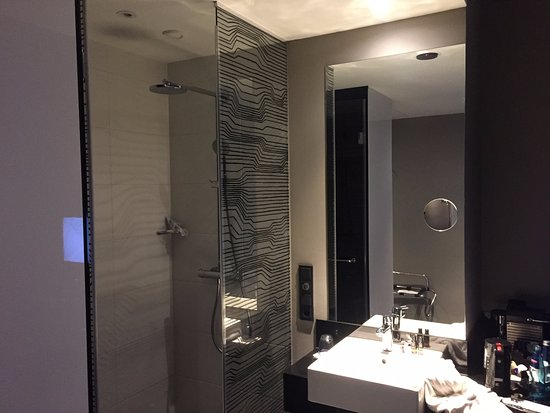 Tuttlingen, Germany: Glass walled shower, with sink in the bedroom