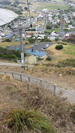 Stanley, Australia: Looking down on the chairlift