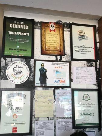 Thalappakatti Naidu Biriyani Hotel: various certificates