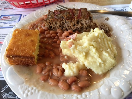 Lenoir, NC: Lunch Special: meatloaf, pintos, mashed potatoes, corn bread (tea and dessert not pictured)