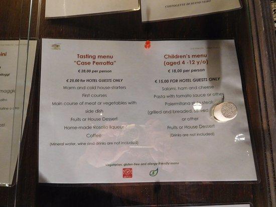 Sant'Alfio, Italia: 2016年12月時点のコース(tasting menu)