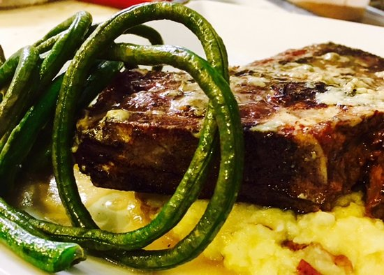 Douglas, MI: Porterhouse steak with red skin mash and Chinese long beans