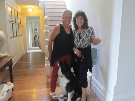 TARA Guest House: Brom, our host and chef extraordinaire and her dog Oscar!