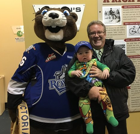 Save-On-Foods Memorial Centre: Mascot Marty the Marmot and me with my grandson at the Royals Hockey game