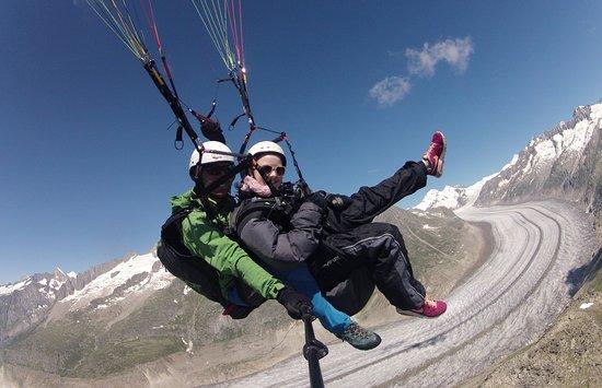 Fiesch in Valais, Switzerland: Flying Center Oberwallis Tandemfliegen Passagierflug Aletsch Arena