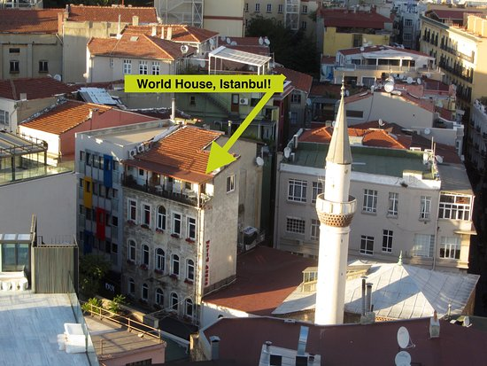 World House Istanbul: Picture of the hostel from the top of Galata Tower.
