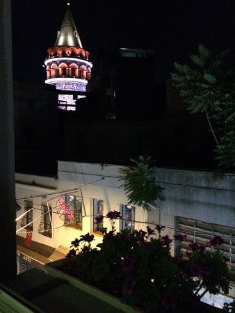 World House Istanbul: View of Galata Tower from our bedroom window.
