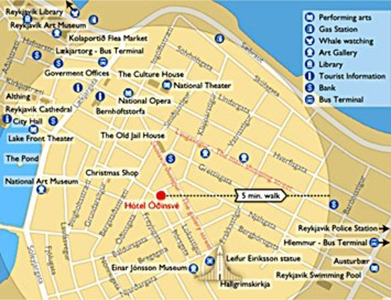 Location Map Picture Of Hotel Odinsve Reykjavik TripAdvisor - Reykjavík map
