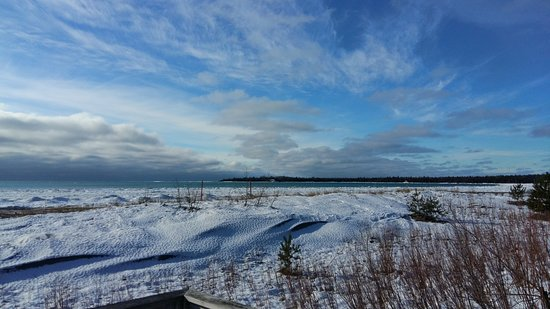Providence Bay, Канада: Winter view of the water from the beach