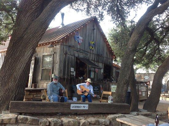 Luckenbach, TX: Jimmy Lee Jones on the left.