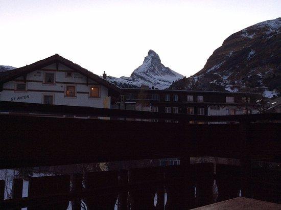 Hotel Dufour Alpin Zermatt: Looking south towards the Matterhorn from our balcony