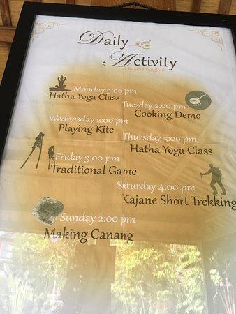 KajaNe Yangloni Private Boutique Health & Leisure Centre: Daily activities schedule