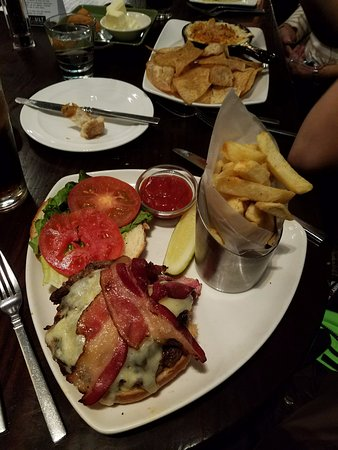 San Mateo, CA: Burger with bacon and fries