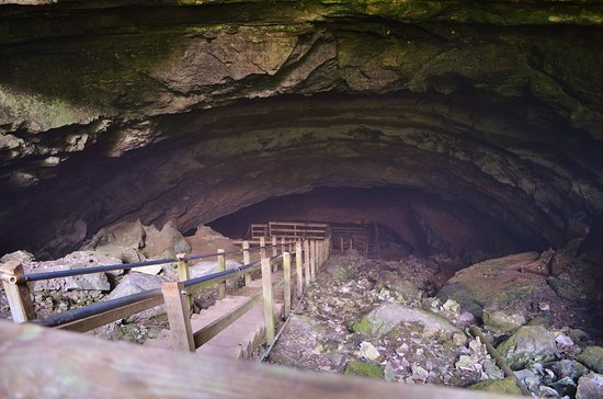 Horse Cave, Kentucky: Steps down into the cave
