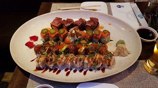 Ajisai Japanese Restaurant: Magical roll, Ajisai roll, spiderman roll, mystical roll - oceanic tartar
