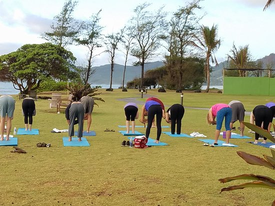 Courtyard Kaua I At Coconut Beach Yoga On The In Front Of
