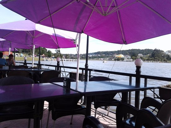 Thanh Thuy Blue Water Restaurant: Purple shade is effective