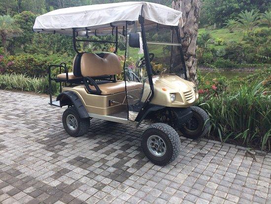 Lakaz Chamarel Exclusive Lodge: Mega wheels on a golf buggy!