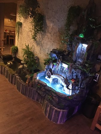 omachi kuche indoor water fountain with koifishes