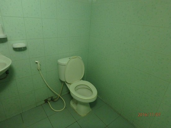 Rosy Guest House: you can tell between walls and area of floor where there is moldy grout and where there isn't