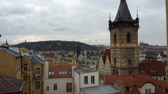 Hotel Praga 1: View towards Petrin Hill and the Tower.