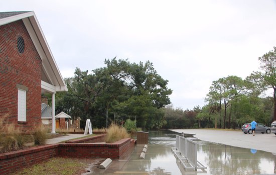 Fernandina Beach, FL: Visitor's Center to Parking Lot (and this is after it receded some). Fort Clinch State Park