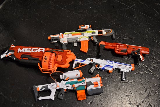 Eli: PLEASE DON'T BUY NERF GUNS (MORE DARTS OK) W/O TALKING TO ME FIRST -  WE HAVE TOO MANY, Nerf N-Strike SharpFire Blaster | ToysRUs, $14.99