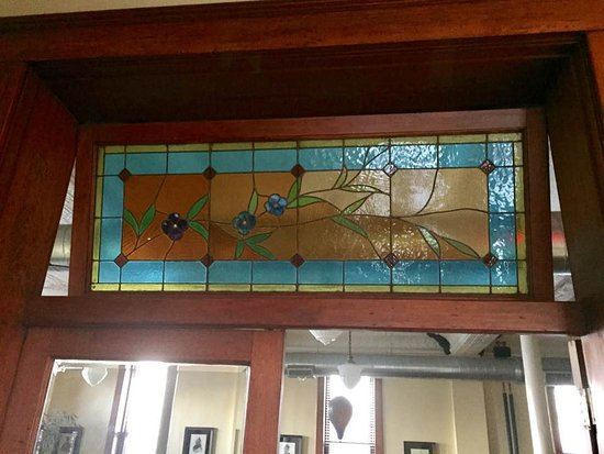 Boonville, MO: Original stained glass window over The Fred Restaurant entry