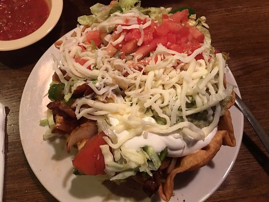 Logansport, IN: Delicious fajita taco salad! Chocked full of meat and veggies and little lettuce.