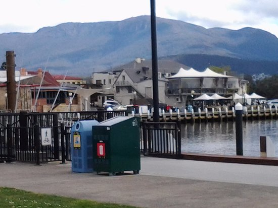 From outside the Bellerive Yacht Club looking across to the hotel and then Mount Wellington