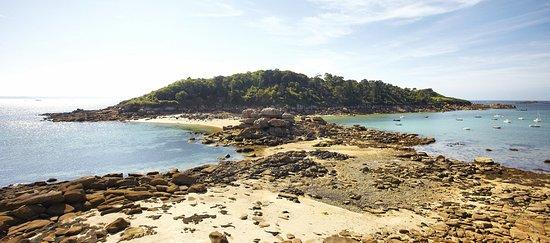 Trebeurden, France: le passage à pied pour atteindre l'île Milliau. Attention aux horaires de marée !