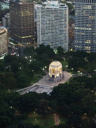 Anzac War Memorial: by night, view from Westfield tower