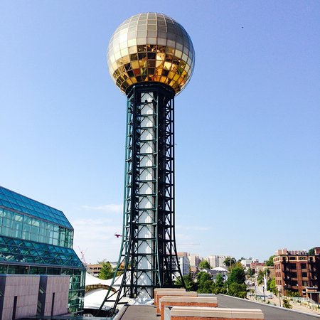 sunsphere tower is located at worlds fair park in downtown knoxville