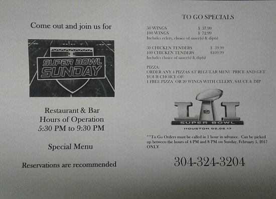 Bluefield, Virgínia Ocidental: Super Bowl Specials!!