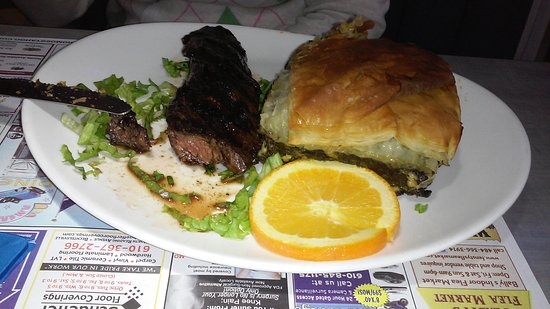 New Berlinville, PA: Spinich pie and steak