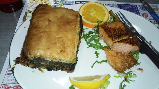 New Berlinville, PA: Spinach pie and salmon