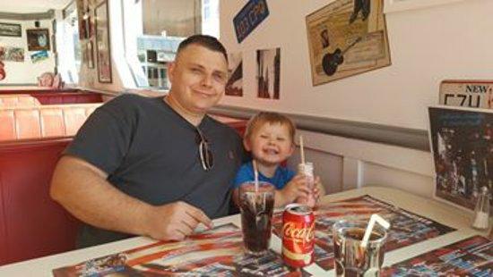 Roadhouse The Diner: American vanilla coke and strawberry milkshake for little man