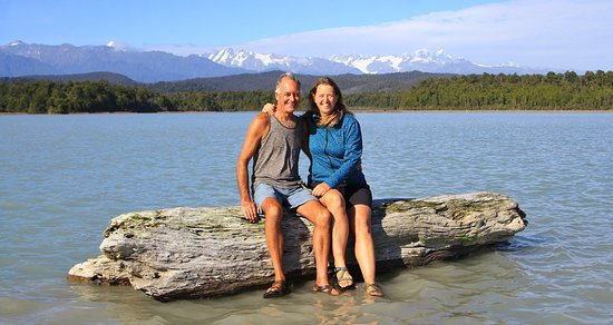 Your hosts! Swade & Paula out on the Okarito lagoon.