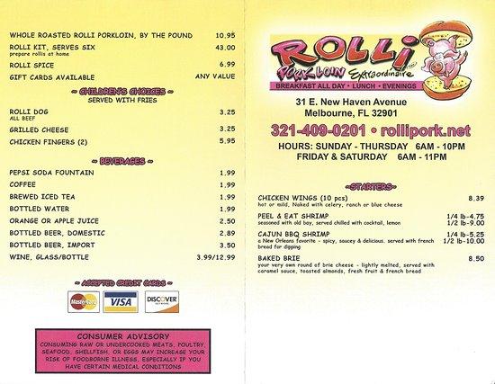 Rolli's Porkloin Extraordinare: Rolli Pork Loin Extraordinaire Menu page 1