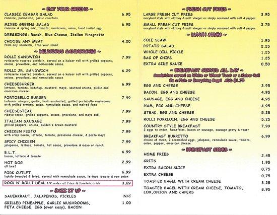 Rolli's Porkloin Extraordinare: Rolli Pork Loin Extraordinaire Menu page 2